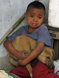 This little boy hid his dog away